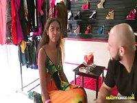Cute store girl is offered money to strip in public