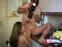Busty chick gets filmed and fucked in the kitchen