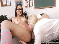 Nerdy teen gets caressed by a female instructor