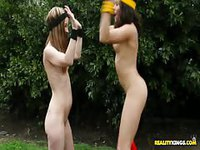 Skinny teens play naked fantasy football in public