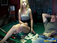 Sexy latina girl spreads her legs on the pool table