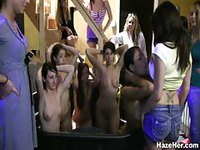 Naked college girls forced to ride dildos at party