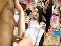 Brunette gets fucked in the lingerie shop