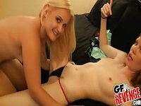 Two College girls licking one dick