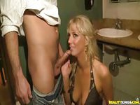Blonde sucks and fucks in the restroom
