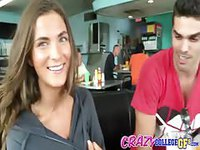 College girlfriend shows some skin in the diner