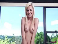Naked interview with a shy blondie