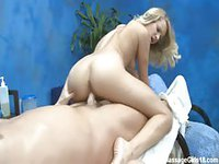 Naughty blonde masseuse banging client