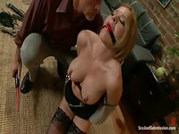 Ball gagged blonde face fucked