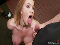 Blonde amateur orally humiliated by group of men