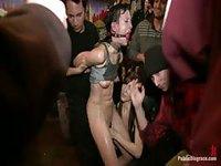 Ball gagged brunette loves the torture