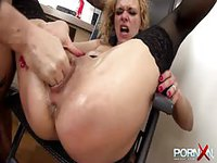 Blonde secretary fisted and abused