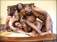 Black stud screwing three ebony tramps