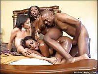 Black stud screwing three ebony tramps