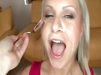 Flawless blonde newcomer sucks and fucks before she gets spoon fed cum
