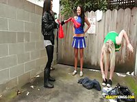 Amateur slut dressed as a cheerleader taking cash to bang objects