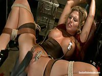 Curious slut taking abuse in the dungeon during this bondage hardcore