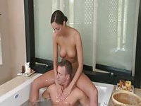 Sexy shoulder run and blowjob in the tub followed by back massage