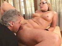 Sexy blonde cougar in glasses using old dudes tongue for pleasure