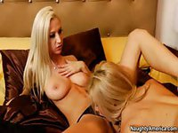 Two absolutely perfect teenage blonde sluts enjoying girl on girl