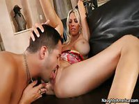 Mature leggy blonde babe treats young stud to a blowjob