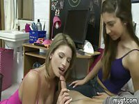 Three college chicks in colorful tank tops take turns pleasuring one guy
