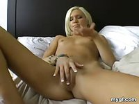 Hot blonde with small tits shows off her nice body