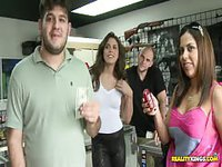 Lady shows her titty at gun shop for money