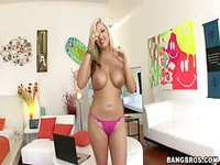 Tatted blonde whore does strip tease