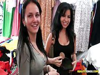 Two lovely ladies get picked up by two men while shopping
