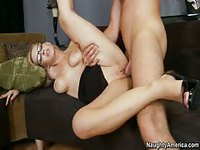 Pale blonde with glasses riding guy and spreading her legs for him
