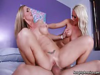Couple have over platinum blonde whore for three-way