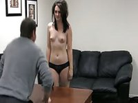 Black haired pale chick with tiny tits shows off her body at interview