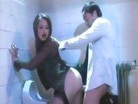Public bathroom sex scene