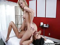 Blonde lesbian doing 69 with her gorgeous girlfriend