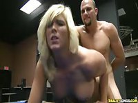 Fun tan blonde in blue heels taking dick on blue pool table