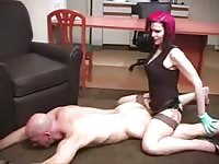 Persuasive redhead whore anally ramming a bald dude with a strapon penis