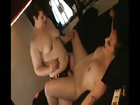 Chubby dominant girlfriend screwing her girlfriend with a thick strapon penis