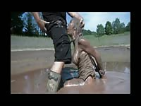 Filthy amateur MILF covered in mud and bound giving an amazing outdoor blowjob
