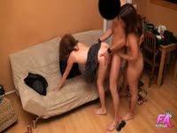 Tricky young dude finds himself being shared by a pair of never before seen teen whores