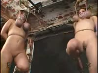 Daring mature twin sisters experience their first BDSM session and punished in a dungeon