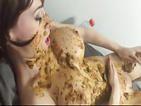 Naughty bitch likes smearing her body with shit of her granny