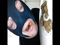 Masked daddy is forced to eat shit of his client for money